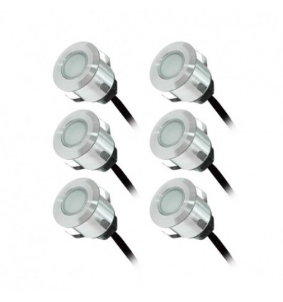 Pack 6 X Spot Led Encastrable Terrasse 12v Ip67 Couleur Bleu