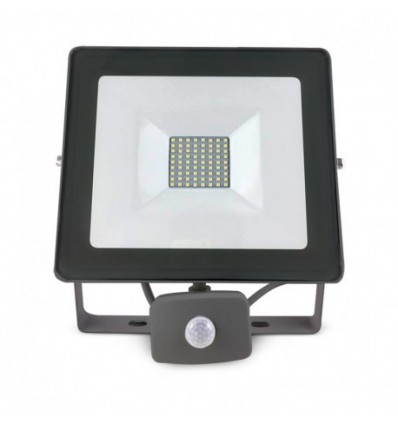 projecteur exterieur led plat gris avec d tecteur 50w 6000k. Black Bedroom Furniture Sets. Home Design Ideas